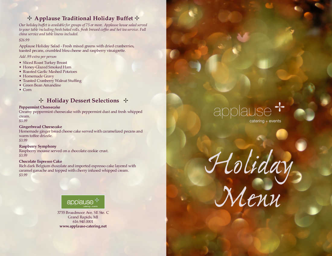 Applause Catering Events Holiday Menu